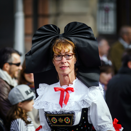 Editorial, 02nd October 2016: Barr, France: Carnival and parade throught the streets. Fancy-dress harvest holiday and festival.