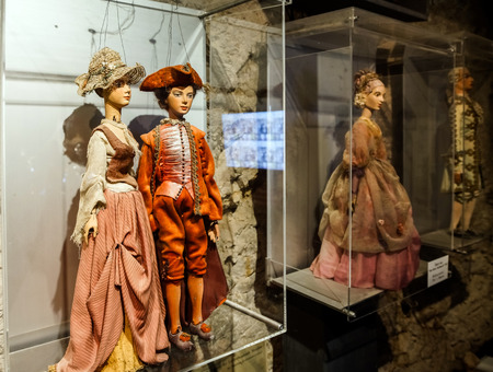 Editorial: 23 august 2016. Austria, Salzburg. Museum of old marionettes, theater of dolls.