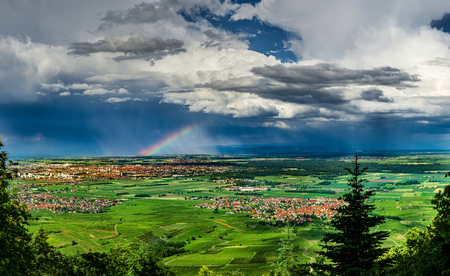 Aerial panoramic view of the rainbow over the green valley, drone shooting, Alsace, France