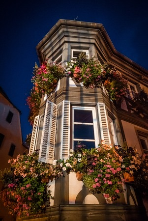 Night view of highlighted old house in Barr, Alsace