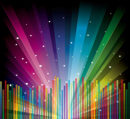 Cool vector illustration with equalizer on rainbow background