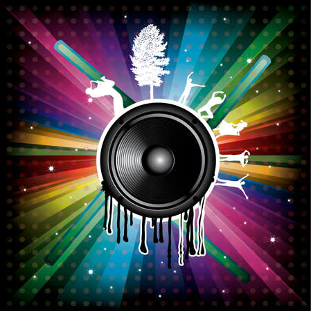 Magic Rainbow Party background with speaker, dancer and dots