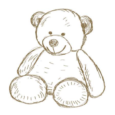 Illustration pour Hand drawn Teddy bear doodle Vector illustration - image libre de droit