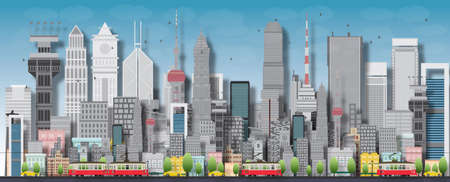 Illustration pour Big city with skyscrapers and small houses. Vector flat illustration - image libre de droit
