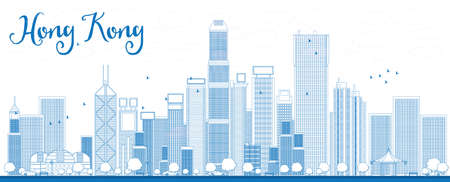Photo pour Outline Hong Kong skyline with blue skyscrapers and taxi. Vector illustration. Business travel and tourism concept with place for text. Image for presentation, banner, placard and web site. - image libre de droit