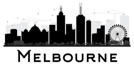 Vektor für Melbourne City skyline black and white silhouette. Vector illustration. Simple flat concept for tourism presentation, banner, placard or web site. Business travel concept. Cityscape with landmarks - Lizenzfreies Bild