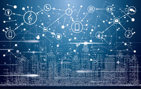 Illustration pour Smart City with Neon Buildings, Networks and Internet of Things Icons. Vector Illustration. - image libre de droit