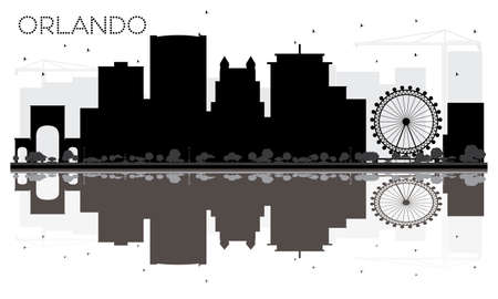 Orlando City skyline black and white silhouette with reflections. Vector illustration.