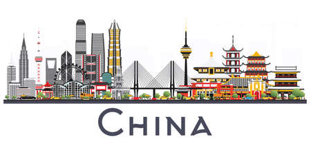Illustration pour China City Skyline Isolated on White Background. Famous Landmarks in China. Vector Illustration. Business Travel and Tourism Concept. Image for Presentation, Banner, Placard and Web Site. - image libre de droit