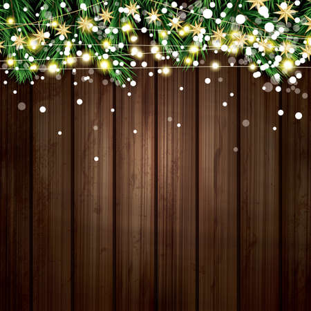 Fir Branch with Neon Lights and Snowflakes Wooden Background