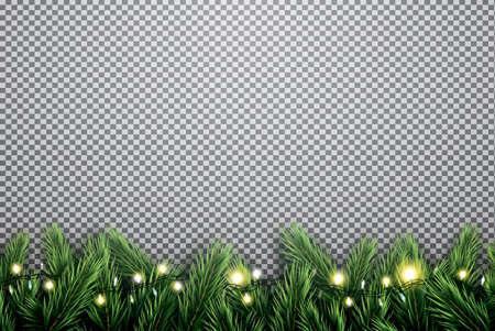 Illustration pour Fir Branch with Neon Lights on Transparent Background. Vector illustration. - image libre de droit