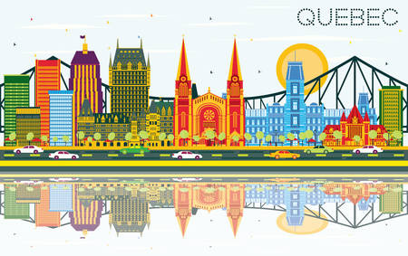 Illustration for Quebec Canada Skyline with Color Buildings, Blue Sky and Reflections. Vector Illustration. Business Travel and Tourism Concept with Historic Architecture. Image for Presentation Banner Placard. - Royalty Free Image