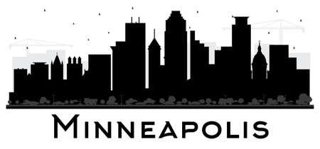 Ilustración de Minneapolis Minnesota USA Skyline Black and White Silhouette. Vector Illustration. Simple Flat Concept for Tourism Presentation, Placard. Business Travel Concept. Minneapolis Cityscape with Landmarks. - Imagen libre de derechos