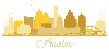 Illustration pour Austin Texas USA City skyline golden silhouette. Vector illustration. Simple flat concept for tourism presentation, banner, placard or web site. Austin Cityscape with landmarks. - image libre de droit