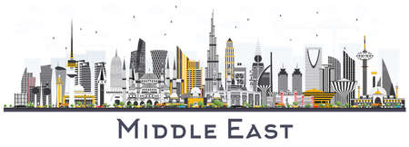 Illustration for Middle East City Skyline with Color Buildings Isolated on White. Vector Illustration. Business Travel and Tourism Concept with Modern Architecture. Middle East Cityscape with Landmarks. - Royalty Free Image