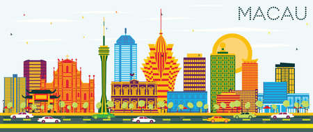 Illustration pour Macau China City Skyline with Color Buildings and Blue Sky. Vector Illustration. Business Travel and Tourism Concept with Modern Architecture. Macau Cityscape with Landmarks. - image libre de droit