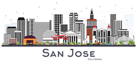 Illustration for San Jose California Skyline with Gray Buildings Isolated on White. Vector Illustration. Business Travel and Tourism Concept with Modern Architecture. San Jose Cityscape with Landmarks. - Royalty Free Image