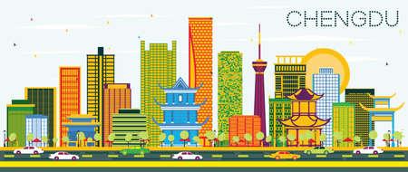 Ilustración de Chengdu China Skyline with Color Buildings and Blue Sky. Vector Illustration. Business Travel and Tourism Concept with Modern Architecture. Chengdu Cityscape with Landmarks. - Imagen libre de derechos