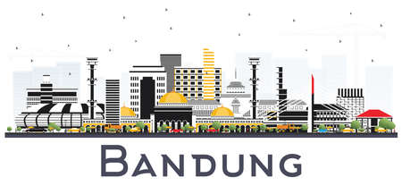 Illustration pour Bandung Indonesia City Skyline with Gray Buildings Isolated on White. Vector Illustration. Business Travel and Tourism Concept with Historic Architecture. Bandung Cityscape with Landmarks. - image libre de droit