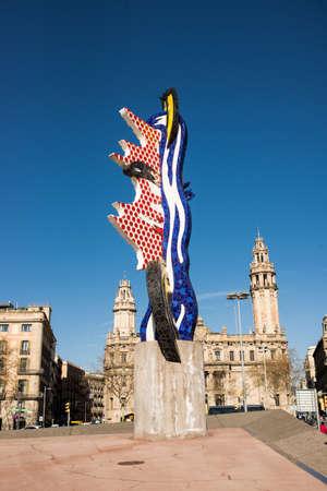 Barcelona, Spain - March 18, 2018: The Head of Barcelona (La cara de Barcelona). Surrealist Sculpture by American Pop Artist Roy Lichtenstein.