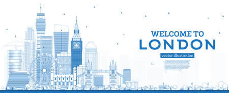 Illustration pour Outline Welcome to London England Skyline with Blue Buildings. Vector Illustration. Business Travel and Tourism Concept with Modern Architecture. London Cityscape with Landmarks. - image libre de droit