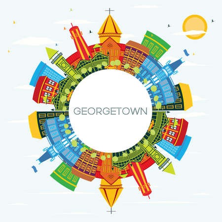 Illustration pour Georgetown Guyana City Skyline with Color Buildings, Blue Sky and Copy Space. Vector Illustration. Tourism Concept with Modern Architecture. Georgetown Cityscape with Landmarks - image libre de droit