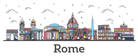 Outline Rome Italy City Skyline with Color Buildings Isolated on White. Vector Illustration. Rome Cityscape with Landmarks.のイラスト素材
