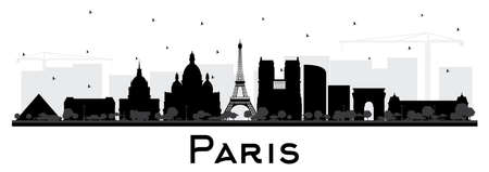 Paris France City Skyline Silhouette with Black Buildings Isolated on White. Vector Illustration. Business Travel and Concept with Historic Architecture. Paris Cityscape with Landmarks.