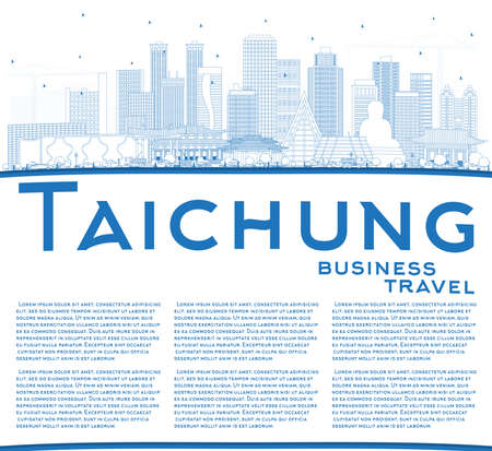 Illustration pour Outline Taichung Taiwan City Skyline with Blue Buildings and Copy Space. Vector Illustration. Business Travel and Tourism Concept with Historic Architecture. Taichung China Cityscape with Landmarks. - image libre de droit