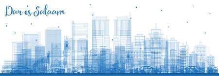 Illustration pour Outline Dar Es Salaam Tanzania Skyline with Blue Buildings. Vector Illustration. Business Travel and Tourism Concept with Modern Architecture. - image libre de droit