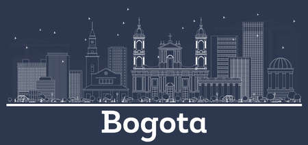 Illustration for Outline Bogota Colombia City Skyline with White Buildings. Vector Illustration. Business Travel and Tourism Concept with Modern Architecture. Bogota Cityscape with Landmarks. - Royalty Free Image