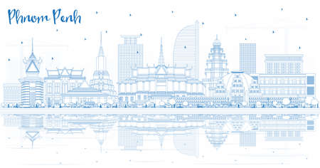 Illustration pour Outline Phnom Penh Cambodia City Skyline with Blue Buildings and Reflections. Vector Illustration. Business Travel and Tourism Concept with Historic Architecture. Phnom Penh Cityscape with Landmarks. - image libre de droit