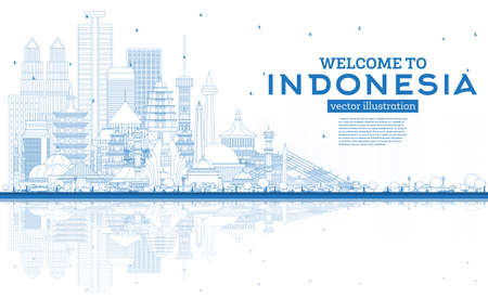 Illustration pour Outline Welcome to Indonesia Skyline with Blue Buildings and Reflections. Vector Illustration. Tourism Concept with Historic Architecture. Indonesia Cityscape with Landmarks. Jakarta. Surabaya. Bekasi. Bandung. - image libre de droit