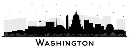 Illustration pour Washington DC USA City Skyline Silhouette with Black Buildings Isolated on White. Vector Illustration. Business Travel and Tourism Concept with Historic Buildings. Washington DC Cityscape with Landmarks. - image libre de droit