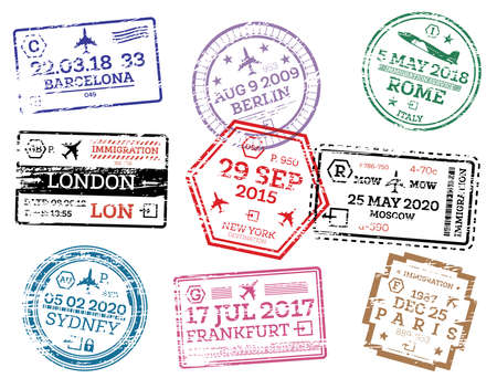 Illustration pour Collection of Passport Stamps Isolated on White. Vector Illustration. Set from Different Countries and Cities. London. New York. Moscow. Paris. Barcelona. Rome. - image libre de droit