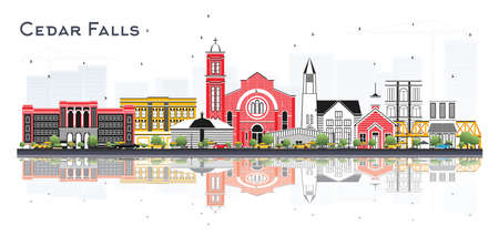 Illustration for Cedar Falls Iowa Skyline with Color Buildings and Reflections Isolated on White. Vector Illustration. Business Travel and Tourism Illustration with Historic Architecture. - Royalty Free Image