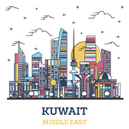 Illustration pour Outline Kuwait City Skyline with Colored Modern Buildings Isolated on White. Vector Illustration. Kuwait Cityscape with Landmarks. - image libre de droit
