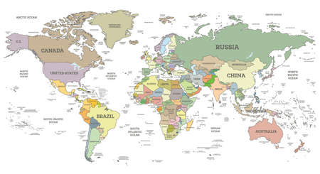 Illustration pour Detailed World Map with Borders and Countries Isolated on White. Vector Illustration. Cylindrical Projection. - image libre de droit