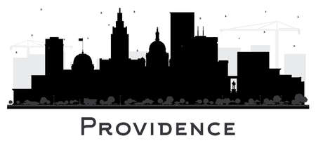 Illustration pour Providence Rhode Island City Skyline Silhouette with Black Buildings Isolated on White. Vector Illustration. Providence USA Cityscape with Landmarks. Business Travel and Tourism Concept with Modern Architecture. - image libre de droit