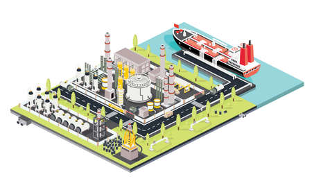 Illustration for Refinery Plant. Oil Tank Farm. Maritime Port with Oil Tanker Moored at an Oil Storage Silo Terminal. Oil Petroleum Industry. Isometric Concept. Vector Illustration. Industrial Sea Port. - Royalty Free Image