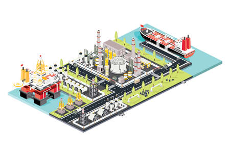 Illustration for Refinery Plant. Isometric Oil Tank Farm. Offshore Oil Rig. Maritime Port with Oil Tanker Moored at an Oil Storage Silo Terminal. Oil Petroleum Industry. Vector Illustration. Industrial Sea Port. - Royalty Free Image