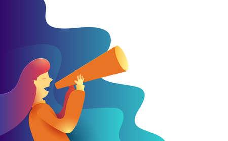 Illustration pour Women making some announcement in a paper trumpet. Advertisement Promo Marketing Concept.  Creative flat design for web banner and online advertising. Vector illustration. - image libre de droit