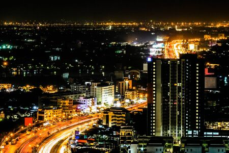 Photo pour Top view and wide angle of city scape with car light trail , night scene - image libre de droit