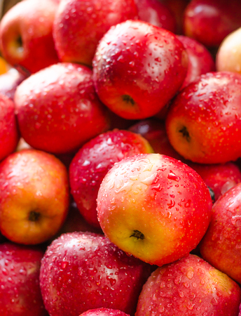 Photo for Background of fresh red apple with drop - Royalty Free Image