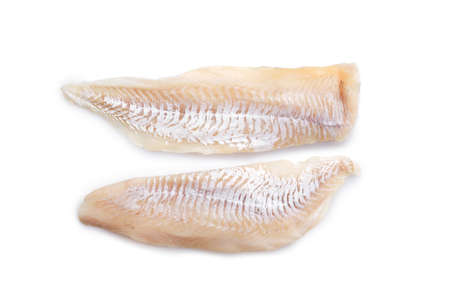 Photo pour Top view of haddock fillet isolated on white background - image libre de droit