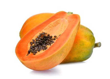 Photo pour whole and half of ripe papaya fruit with seeds isolated on white background - image libre de droit