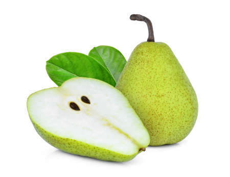 Foto de whole and half green packham pear with green leaf isolated on white background - Imagen libre de derechos