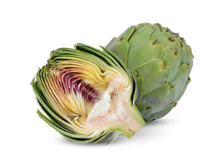 Photo for whole and half artichoke isolated on white background - Royalty Free Image