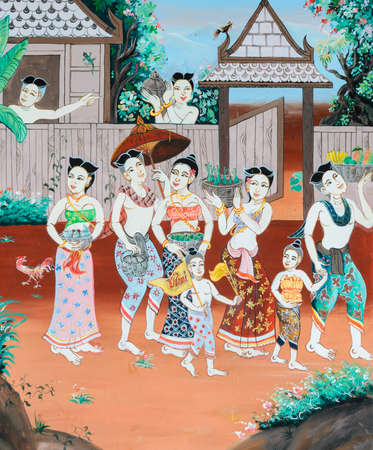 Thai mural painting of Thai Buddhist New Year festival in the past on temple wall in Loei, Thailand.