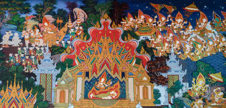 Ancient Buddhist temple mural painting of the life of Buddha in Ayutthaya, Thailand